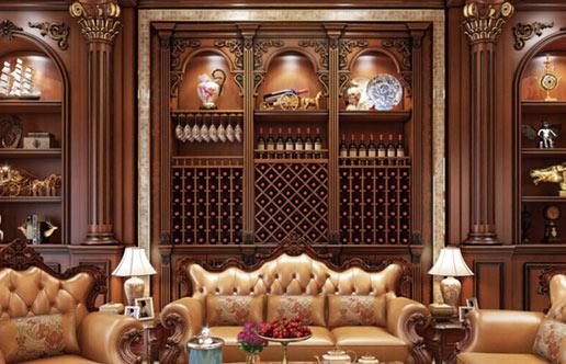 长沙原木酒柜定制,这套经典型欧式风格大受欢迎