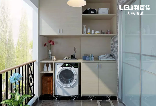 阳台洗衣机柜子这样设计,美观实用节省空间!